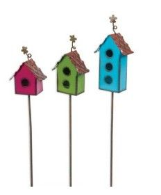 Rau's is a fun site for Fairy Garden items! Look at these sweet Mini Birdhouse Picks