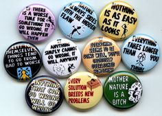 MURPHY LAWS Murphy's 10 Pinback 1 Buttons Badges Pins by Yesware, $10.00