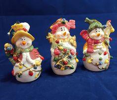3 Ceramic Snowman Xmas Tree Ornaments Glitter Lights Top Hat  Birdhouse Holiday