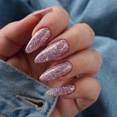 Nail art February 13 2020 at nails Mauve Nails, Indigo Nails, Aycrlic Nails, Nail Manicure, Hair And Nails, Glitter Nails, Stiletto Nails, Pink Glitter, Almond Acrylic Nails