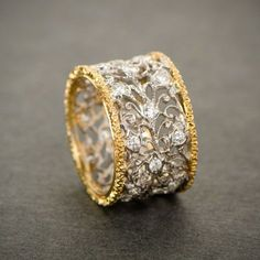 A lovely intricate vintage Buccellati wedding band. Circa A lovely intricate vintage Buccellati wedding band. Diamond Jewelry, Gold Jewelry, Jewelry Rings, Jewelery, Fine Jewelry, Jewellery Box, Tanishq Jewellery, Etsy Jewelry, Jewelry Stores