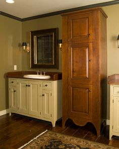 Bath Vanity from The Workshops - David T. Smith also love the tall cabinet!