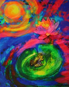 #Frog #Art #16x20 Perfect view frog art bold by dahliahousestudios