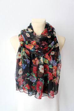 Floral Silk Scarf  Black & Red Printed Scarf  Women by LocoTrends