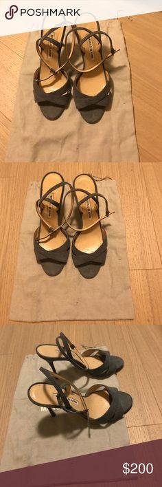 Manolo Blahnik denim ankle strap sandals size 37.5 Manolo Blahnik denim ankle strap sandals in size 37.5; gently worn. Comes w original dust bag Manolo Blahnik Shoes Sandals