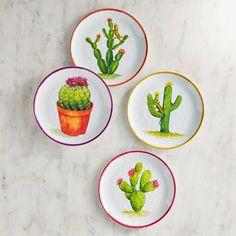 Pier 1 Imports Desert Cactus Melamine Salad Plate Set of Four Pier 1 Imports Desert Cactus Melamin Salatteller Pottery Painting, Ceramic Painting, Ceramic Art, Cactus Painting, Cactus Decor, Plant Decor, Cake Plates, Plates On Wall, Ceramic Plates