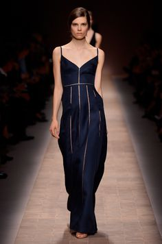 """This navy Valentino gown is sexy and sophisticated. I love this long dress with its open panels.""""  xoxo, l ╰⊰✿"""