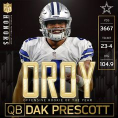 Dak Prescott is the Offensive Rookie of the Year! Dallas Cowboys Quotes, Dallas Cowboys Decor, Dallas Cowboys Pictures, Dallas Cowboys Football, Football Memes, Football Team, Dak Prescott Cowboys, Nfl, Coach Of The Year