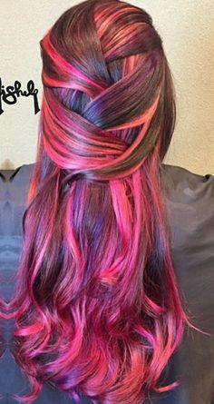 Brown pink dyed hair