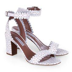Designer heels for Women White Block Heel Sandals, Block Heel Shoes, Open Toe Sandals, Ankle Strap Sandals, Shoes Sandals, White Leather Shoes, White Shoes, Leather Sandals, Tabitha Simmons