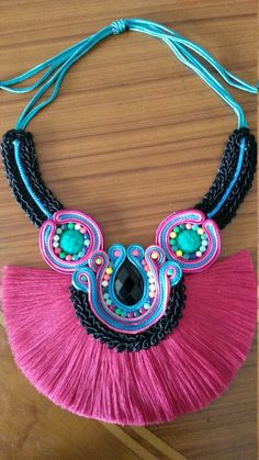 Soutache Necklace, Fabric Necklace, Fringe Necklace, Monogram Necklace, Beaded Jewelry Designs, Handmade Jewelry, Diy African Jewelry, Hippie Designs, Thread Jewellery