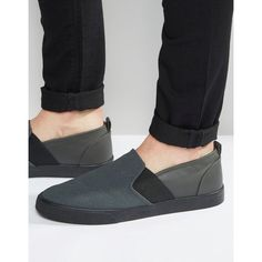 ASOS Slip On Plimsolls in Grey Faux Suede With Elastic ($27) ❤ liked on Polyvore featuring men's fashion, men's shoes, men's sneakers, grey, mens canvas slip on sneakers, asos mens shoes, mens canvas sneakers, mens slip on shoes and mens gray dress shoes