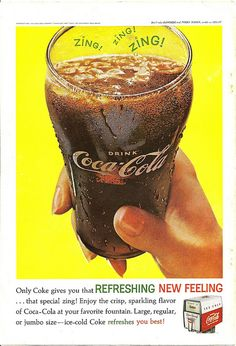 Coca Cola Advertisement - Vintage 1962 Coke Soda Pop Drink Zing Glass Print Ad Measurements: X 6 Material: Paper Design: The print is the back cover of an April 1962 National Geographic Magazine. The print has a large glass of deli. Vintage Coca Cola, Vintage Ads, Vintage Images, Etsy Vintage, Coke Ad, Coca Cola Ad, Pepsi, Old Advertisements, Retro Advertising