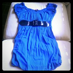 F21 Blue Dress With Attached Belt