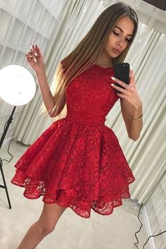 red lace short prom dress,Cheap Homecoming Dresses,Cheap Prom Dress,Formal #prom #promdress #cheap #graduationdress #fashiondress #homecomingdress #formaldress #partydress #shortdress #minidress #lace