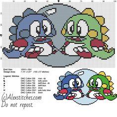 Puzzle Bubble little dragons videogames free cross stitch pattern 100x58 7 colors