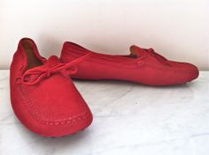 Tod's for Ferrari Red Suede Driving Shoes via The Queen Bee. Click on the image to see more!