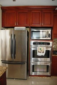 Copper Refrigerator Wall Oven And Wall Microwave