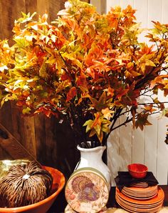 Pottery Barn For Less: Fall Branches and White Pitcher from Craft Store, or your back yard for this Fall Center Piece www.stylememitten.com