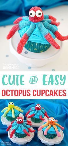Super Cute Octopus Cupcakes - these quick and easy octopus cupcakes are perfect for your next Finding Dory or Nemo party! Cute for an ocean, beach, or under the sea themed bash! (cupcake recipes for kids easy) Mermaid Cupcakes, Cute Cupcakes, Ocean Cupcakes, Party Cupcakes, Beach Themed Cupcakes, Birthday Cupcakes, Beach Themed Desserts, Cute Cupcake Ideas, Fish Cupcakes