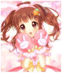 Anime Girl sweet kawaii brown eyes brown hair bunny gloves pink dress