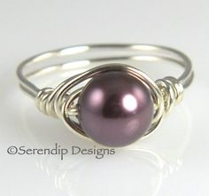 June Birthstone Pearl Ring Burgundy Solitaire in Argentium Sterling Silver in Your Size