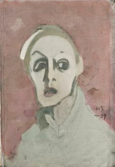 Self-Portrait With Black Mouth, - Helene Schjerfbeck