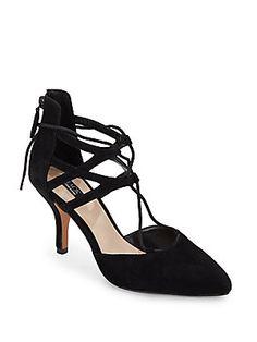 Gwen Suede Lace-Up Pumps/Black