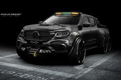 Polish company Carlex Design, with help from Pickup Design, has beefed up the Mercedes-Benz X-Class and transformed it into a menacing juggernaut with carbon fiber armor. Dubbed the EXY Monster X, this custom is a titan among mere pickup trucks. Mercedes Benz, Mercedes Truck, Chevy Trucks, Pickup Trucks, Jeep Pickup, Pickup Camper, Lifted Trucks, Lifted Chevy, Truck Camper