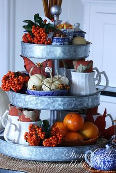 AUTUMN COFFEE BAR-Coffee can take on the most delicious flavors especially in the fall. Here's how to set up a scrumptious fall coffee bar! 3 Tier Stand, Tiered Stand, Tiered Server, Galvanized Tiered Tray, Galvanized Decor, Galvanized Metal, Autumn Coffee, Autumn Decorating, Decorating Ideas