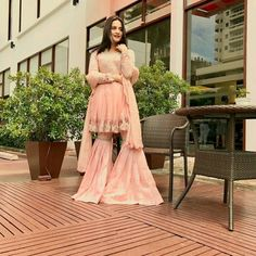 Indian Fashion Dresses, Fashion Outfits, Women's Fashion, Pakistani Wedding Outfits, Wedding Dresses, Party Dresses, Sarara Dress, Pakistani Couture, Stylish Girl Images