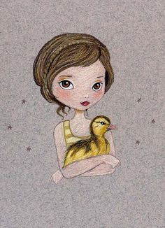 Shop for art on Etsy, the place to express your creativity through the buying and selling of handmade and vintage goods. Wallpaper Animé, Duck Art, Art Watercolor, Illustration Girl, Whimsical Art, Nursery Art, Painting & Drawing, Art For Kids, Portrait