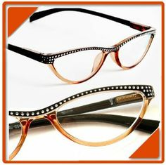 "Cat Eye Retro Women Reading Glasses Rhinestone Aspheric Lens Spring Hinges Vintage Look (+2.00 Strength, Black w/Brown) by Forida Glasess. $16.99. Beautiful frame color. ""retro"" cat eye look. Quality Aspheric Lenses. Spring hinges for comfortable fit. Nice rhinestone pattern. CAT EYE STYLE FASHION  READING GLASSES  These reading glasses have beautiful frame color, embedded with nice rhinestone pattern, this pair is appropriate for those special occasions or fo..."