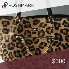 RARE COACH leopard tote Great condition big purse 3 compartments Coach Bags Totes