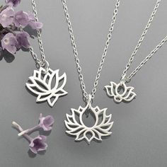 lotus sterling silver necklaces