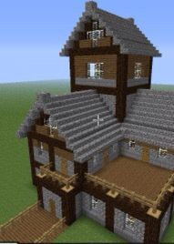 Sorry for the bad quality photo but this is the perfect house for you if your looking for a Old and farm house look. I would build this where you had great views because there are many balconies. If you like to grow punkin, wheat , melon .... But animals keep eating your crops then this house could be great to build as it has a crop farm ( big balcony) build in to your house where animals can't reach.