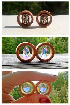 Olive wood tunnels with Swarovski crystals