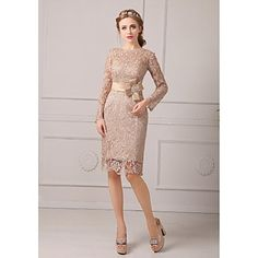Sheath+/+Column+Petite+Mother+of+the+Bride+Dress+Knee-length+Lace+with+Lace+/+Sash+/+Ribbon+–+GBP+£+69.99
