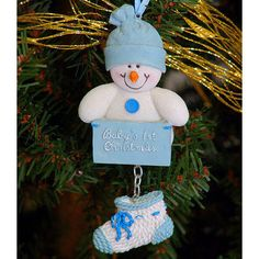 babys first christmas ornament snowman blue