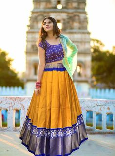 Pochampally ikkat Yellow Colour Printed Lehenga - Call/WhatsApp for Purchase Inqury : Pattu Saree Blouse Designs, Half Saree Designs, Blouse Designs Silk, Choli Designs, Kurta Designs Women, Lehenga Designs, Dress Designs, Kalamkari Dresses, Ikkat Dresses