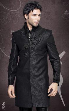 indian wedding groom black beaded sherwani: #IndianFashion