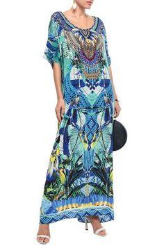 CAMILLA CAMILLA WOMAN SALVADOR FIELDS FOREVER CRYSTAL-EMBELLISHED PRINTED SILK KAFTAN JADE. #camilla #cloth Camilla Clothing, Camilla Kaftan, Silk Kaftan, Salvador, World Of Fashion, Luxury Branding, Jade, Your Style, Fabric