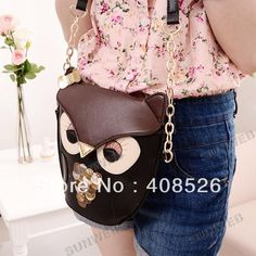 New Women's Splicing Color Shoulder Cross Body Bag Owl Pattern Holder Cover School Tote Small Bag Handbag black + brown  17782 $9,95