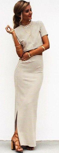 #summer #trending #fashion | Stripe Maxi Skirt + Crop Top Set