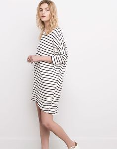 Pull&Bear - woman - dresses - ribbed striped dress - ice - 05390349-V2016