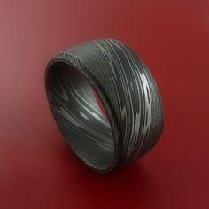 Wide Damascus Steel Ring Wedding Band Genuine Craftsmanship Made Custom
