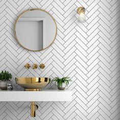 Metro Tiles Bathroom, White Bathroom Tiles, Gold Bathroom, Bathroom Colors, Bathroom Sets, Tile For Small Bathroom, Easy Bathrooms, White Wall Tiles, Neutral Bathroom