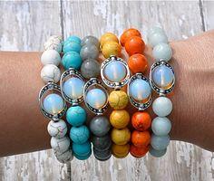 Gemstone Bracelets with Opal Focal / Beaded Bracelet / Stacked Bracelets via Etsy