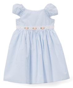 Get your little one ready to twirl the day away in this supersoft cotton cap-sleeve dress adorned with classic stripes and a floral contrast at the waist. Note: Infant sizes include a matching diaper cover.