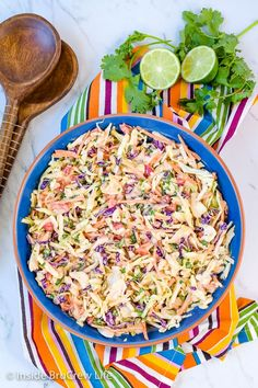 Sweet and Spicy Coleslaw - a bowl of this easy coleslaw is the perfect addition to pork or fish dinners. The sweet and spicy dressing adds a great flavor. Spicy Coleslaw, Coleslaw Recipe Easy, Coleslaw Recipes, Spicy Recipes, Veggie Recipes, Vegetarian Recipes, Healthy Recipes, Vegan Meals, Free Recipes